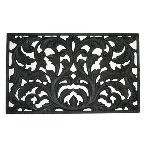 Tuffrub Victorian Rubber Mat by Other Major Designers. $69.95. Size: - Color: Black. Flow-through design. Make A Stylish First Impression with our Victorian rubber mat that looks like intricate wrought iron, but this handsome doormat is perfectly easy to lift and clean. Made of durable, non-skid rubber, it will keep snow, dirt, and out of your house. Molded into an intricate filigree design from 24 pounds of high grade natural rubber. Stands up to temperature extremes, ...