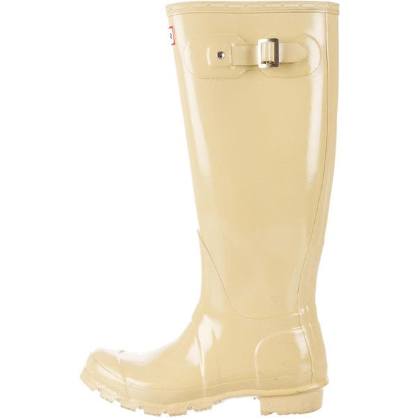 Pre-owned Hunter Original Gloss Boots ($95) ❤ liked on Polyvore featuring shoes, boots, neutrals, knee high buckle boots, wellington boots, round toe boots, wellington rubber boots and knee length boots