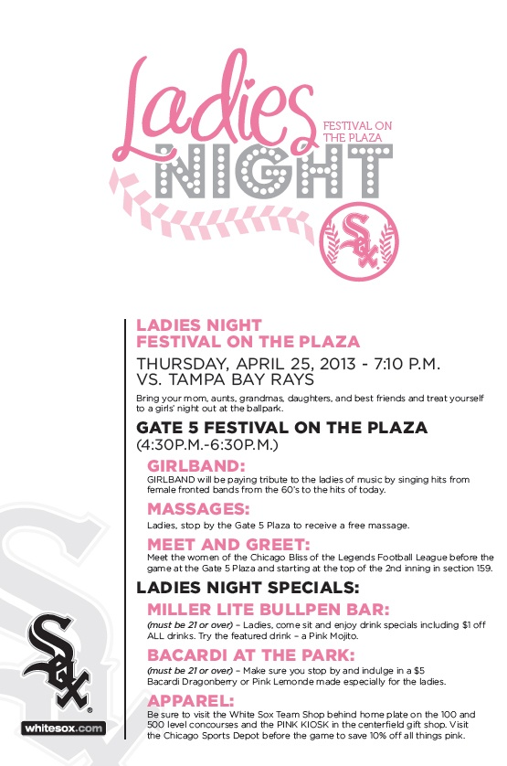 Join The @Chicago White Sox April 25 For Ladies Night! Deadline To Order  Tickets