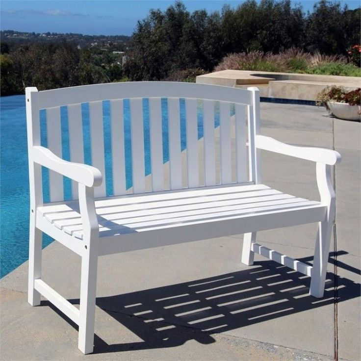 Outdoors Garden Bench 4 Foot White Wood Patio Furniture Porch Weather Resistant #White