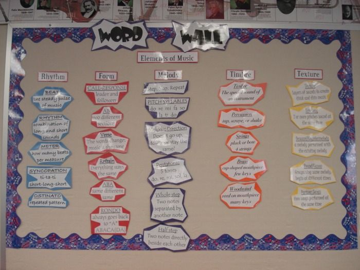 General Music - Pershing Hill Elementary Music word wall.