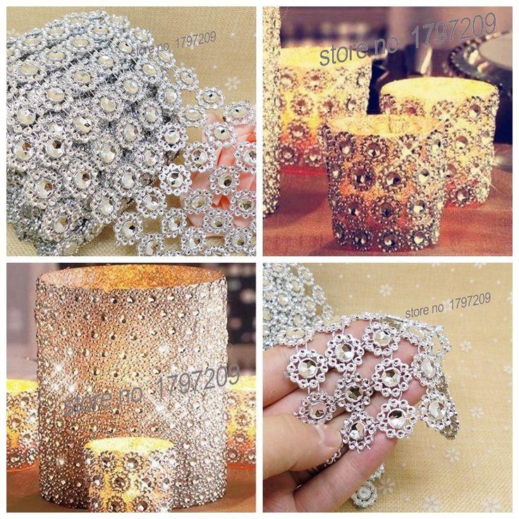 "3.75""x5Yards Silver Flower Diamond Mesh wedding centerpieces vintage wedding decoration DIY crafting"