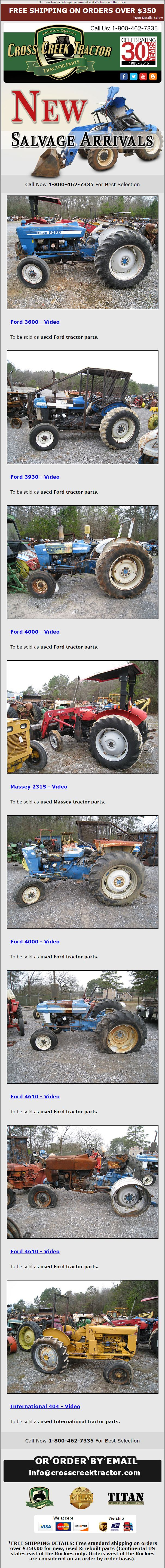 New Tractor Salvage Alerts Email