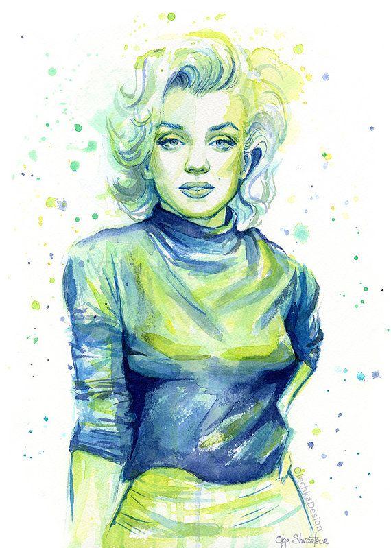 Marilyn Monroe Print Marilyn Monroe Portrait by OlechkaDesign