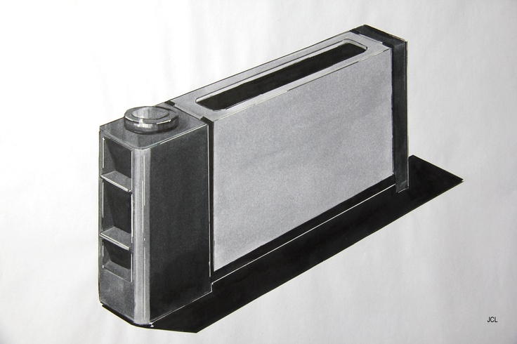 Sketch of a toaster, using Copic markers.  Drawn by Julia C. Lenzner