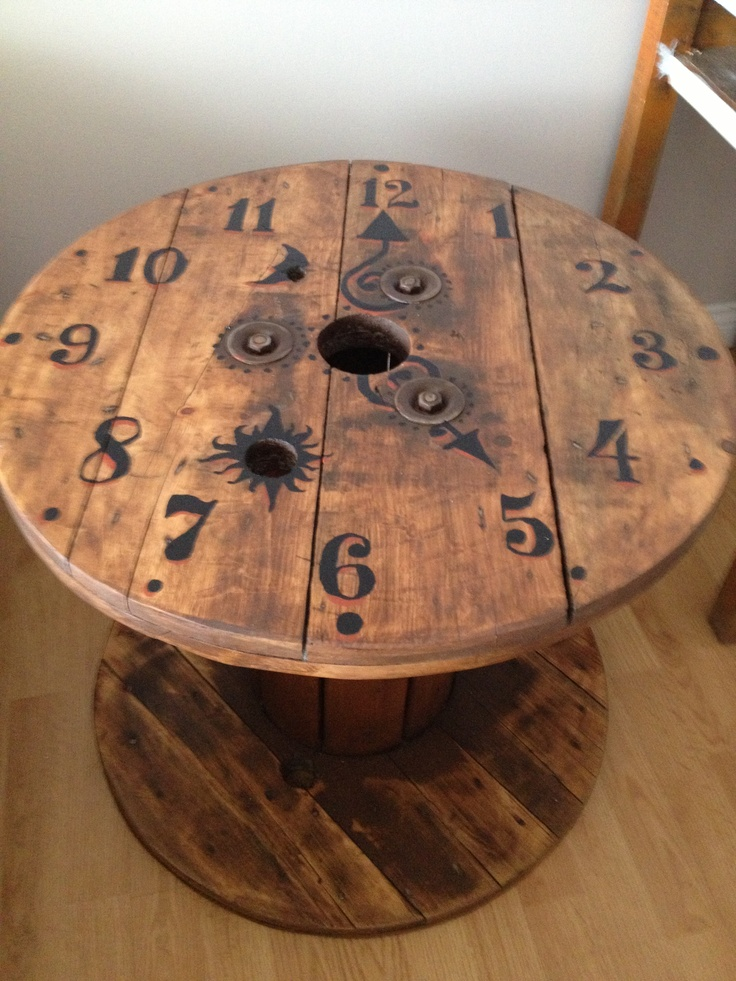 End table for patio... Hand painted... Repurposed out of an old spool.