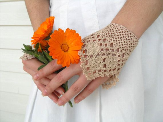 Victorian Gloves Lace Gloves Beige Oatmetal Crocheted by Kitty016, $24.00