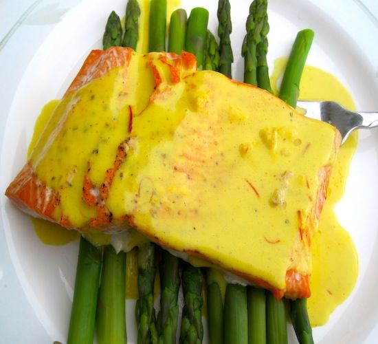 Salmon with Coconut Saffron Sauce  I think I will make one change-grill the asparagus and the salmon.  Maybe pan seared with a lot of butter-could it hurt?