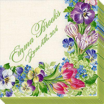 Spring Garland Caspari Napkins
