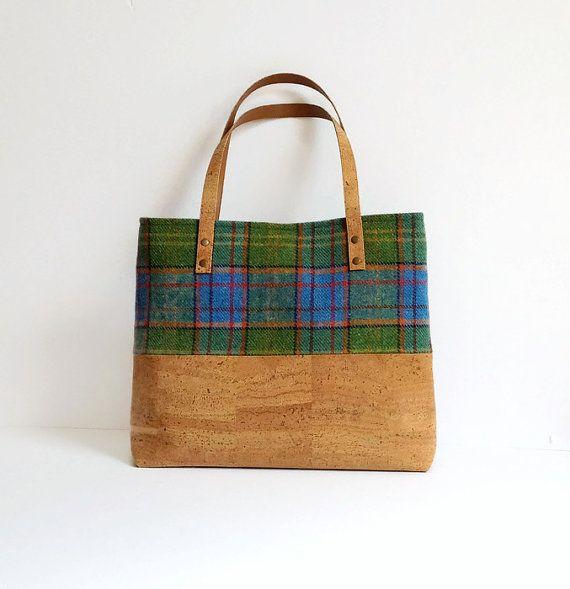 Irish Wool Bag / Cork Purse / Eco Friendly Purse / Blue and Green Tartan Shoulder Bag