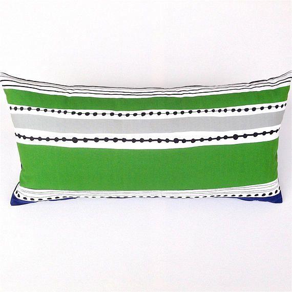 Green Cushion Cover. Marimekko Green Black Grey Cushion.