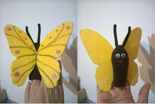 Finger puppet - yellow butterfly