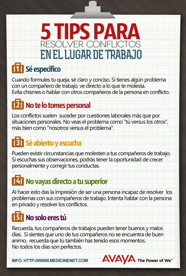 5 consejos para resolver conflictos en el trabajo Vía: Avaya #infografia #infographic #rrhh