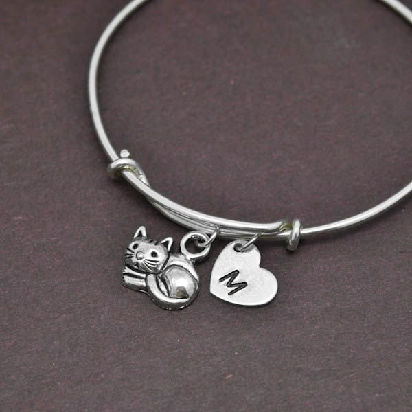 Cat Bangle, Sterling Silver Bangle, Cat Bracelet, Expandable Bangle, Personalized Bracelet, Charm Bangle, Initial Bracelet by BangleLand on Etsy