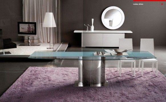 Dining room Cattelan Italia purple carpet Italy
