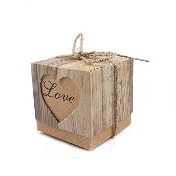 Leehome 100pcs Favor Boxes 2x2x2 Inches Love Rustic Wedding Party Candy Gift Boxes With Burlap Twine Vintage Wedding Favors Gift Boxes Wholesale Candy Gift Box