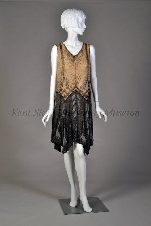 Date1920-1929 CultureAmerican DescriptionBlack and beige chiffon, crystal and black beads.
