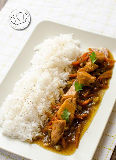 receta de Pollo con puerros y arroz Thai