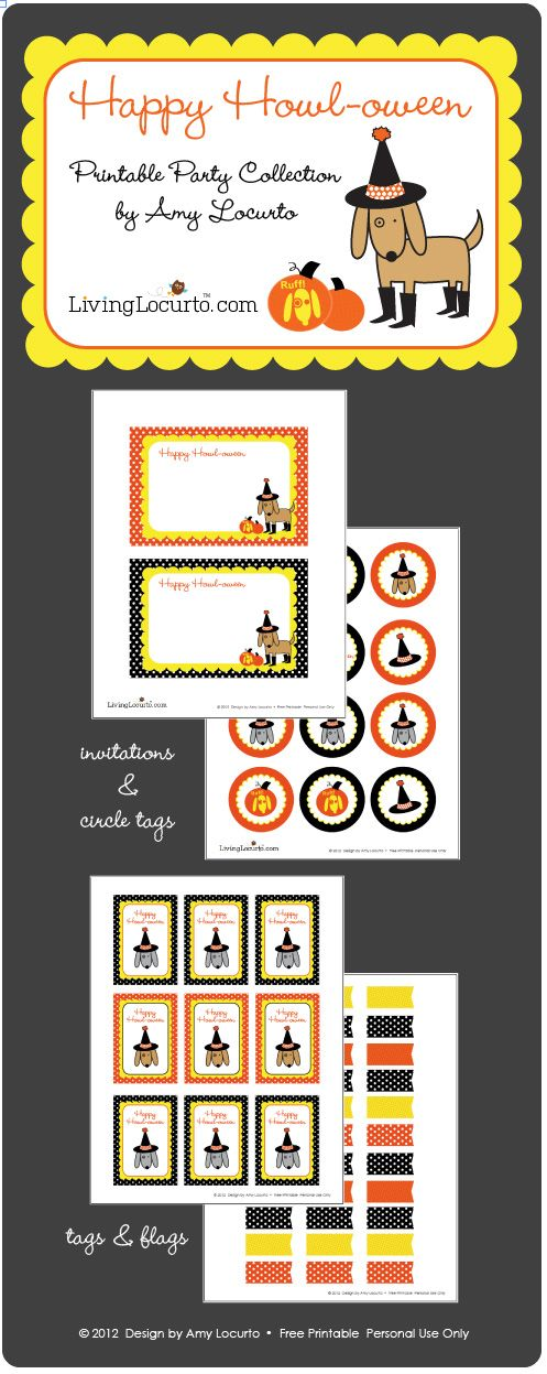 Free Halloween Printables by Amy Locurto at LivingLocurto.com: Printable Dogs, Halloween Parties, Halloween Free, Parties Printable, Halloween Printable, Free Parties, Dogs Halloween, Free Printable, Parties Design