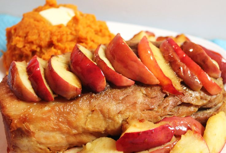 Crockpot Pork loin roast with sweet potatoes and fried apples---would ...