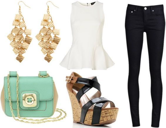 how to wear a white peplum top for night with black skinny jeans black wedges gold geometric earrings and mint cross body bag