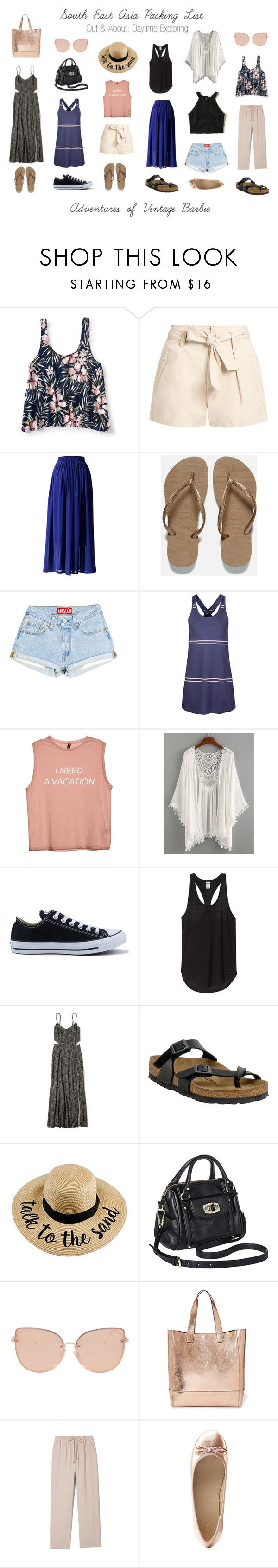 """""""South East Asia Packing Lost: Out and About"""" by vintagebarbie17 on Polyvore featuring Aéropostale, Étoile Isabel Marant, Chicwish, Havaianas, Dakine, Converse, Hollister Co., Birkenstock, Merona and Topshop"""