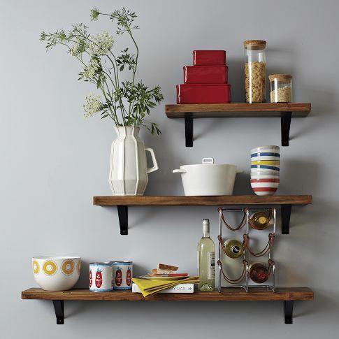 Salvaged Wood ShelfIdeas, Kitchens Shelves, Floating Shelves, Open Shelves, Dining Room Furniture, Salvaged Wood, Wood Shelf, Wood Shelves, West Elm