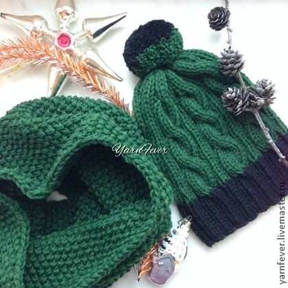 Шапка и снуд - тёмно-зелёный,шарф,шапка вязаная,шапка,шапка женская,снуд вязаный
