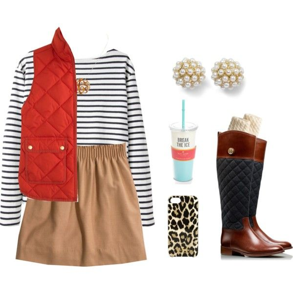 A fashion look from January 2014 featuring long sweaters, red vest and long skirts. Browse and shop related looks.
