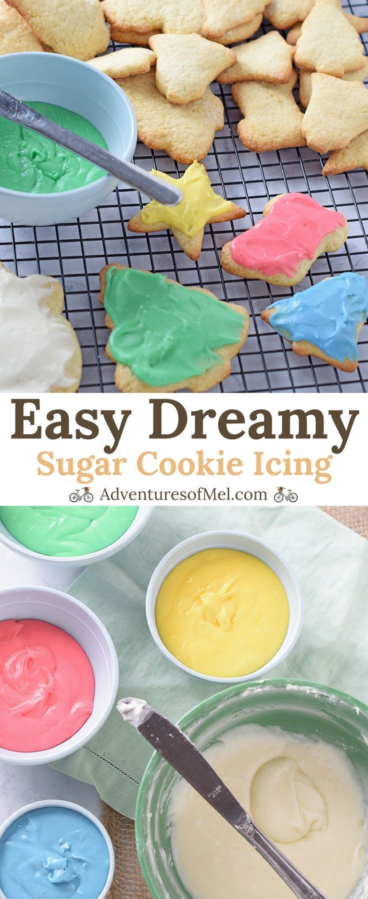 Easy Sugar Cookie Icing, made with powdered sugar and a flavorful secret ingredient. So creamy delicious, my favorite recipe for cookie decorating. #icing #cookiedecorating