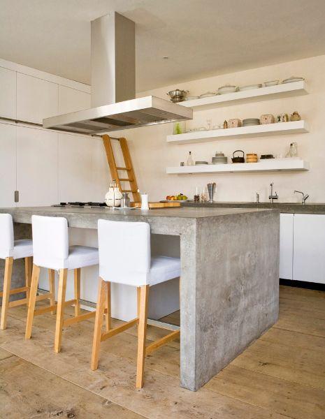 Keuken eiland, betonnen keukenblad