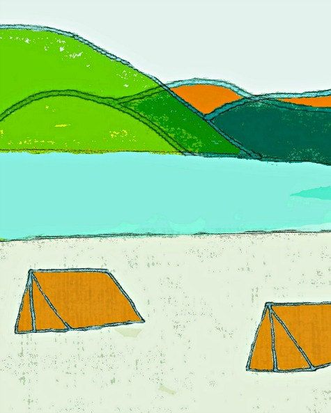 8 x 10 print camper camping tent mountains travel by AmyLighthall, $20.00