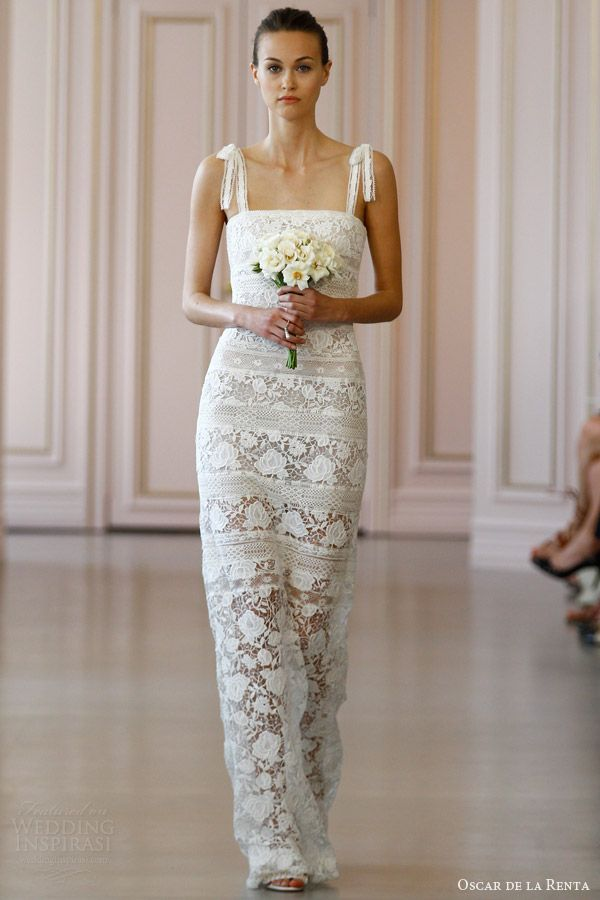 oscar de la renta bridal spring 2016 rose corded macrame corded band lace column wedding dress