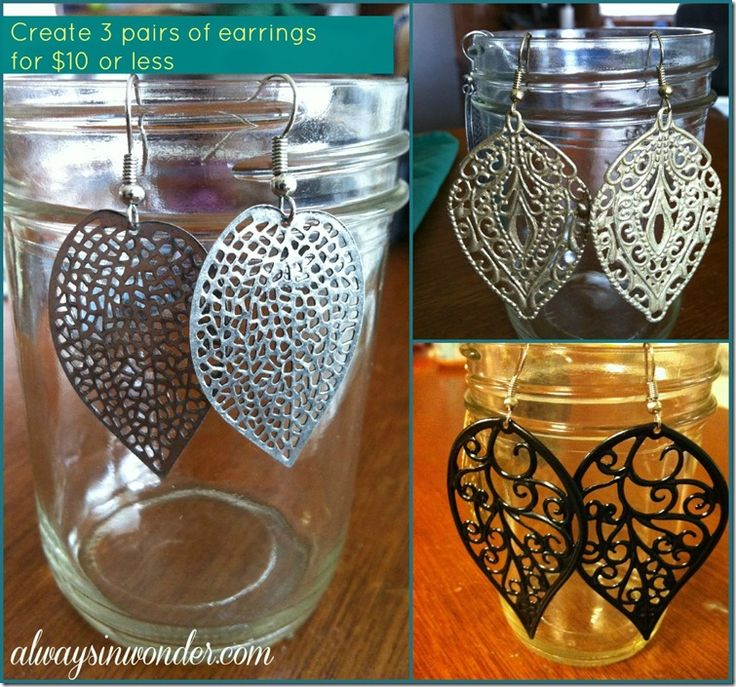 3 Pairs of Earrings for Less Than $10!: Charlotte Earrings, Leaf Earrings, Cheap Earrings, Painted Earrings Collage, Display Earrings, Paintings Earrings Collage, Leaves, Diy Earrings