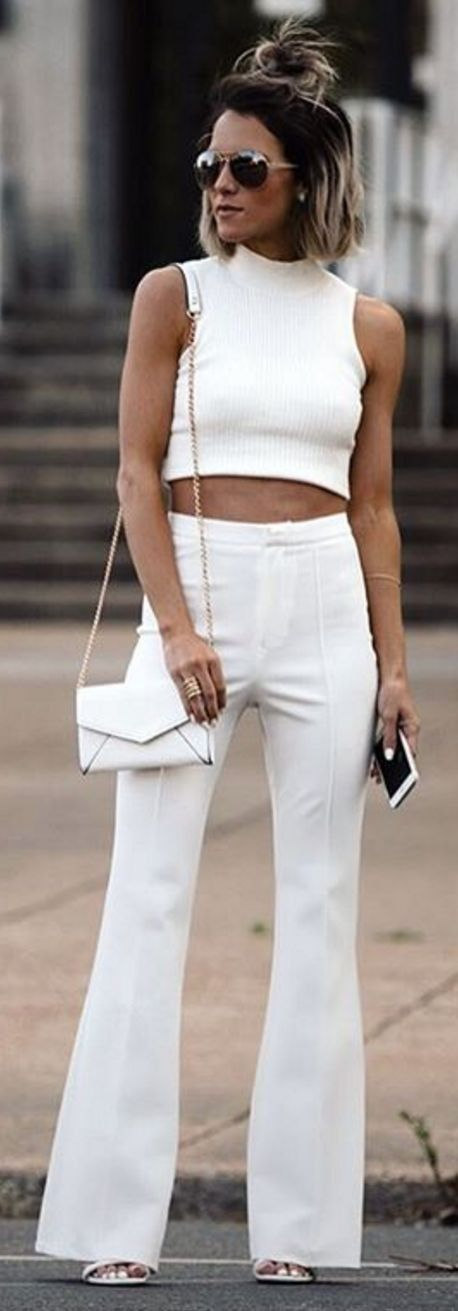 White Knit Crop + White Flares                                                                             Source