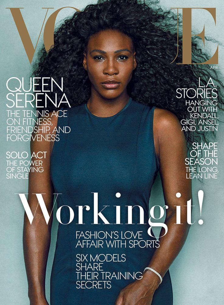 Serena Williams wears a Rag & Bone sheath dress. Tate diamond bracelets. - Photographed by Annie Leibovitz, Vogue, April 2015