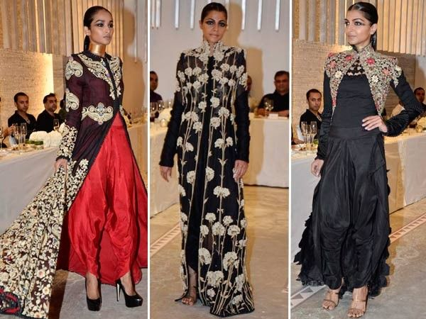 Anamika's designs have slim silhouettes, but amazingly embroidered larger coats.