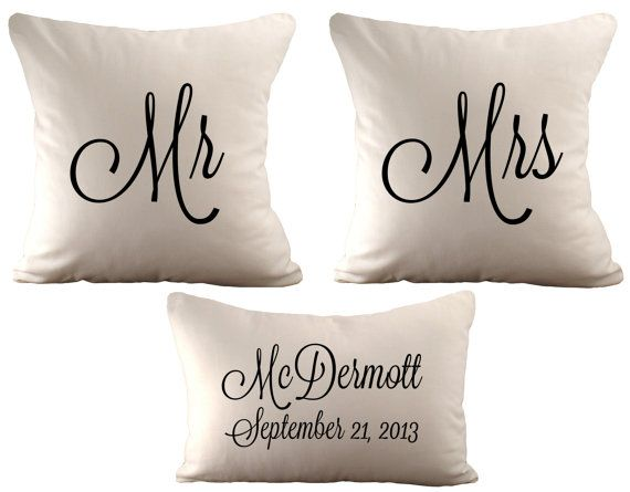 18x18 Mr & Mrs and a 12x18 Personalized  - Set of 3 Cushion Covers - Choose Your Text, Font Colour and Fabric on Etsy, $102.92 AUD