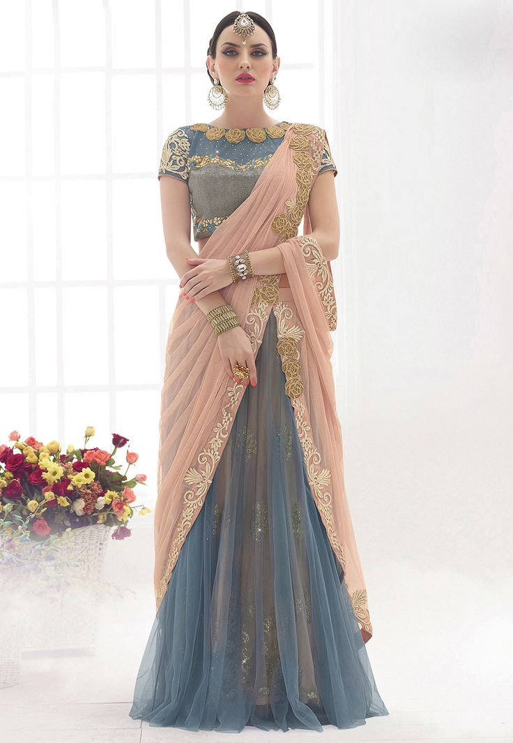 Lehenga Style Net Saree in Peach and Grey