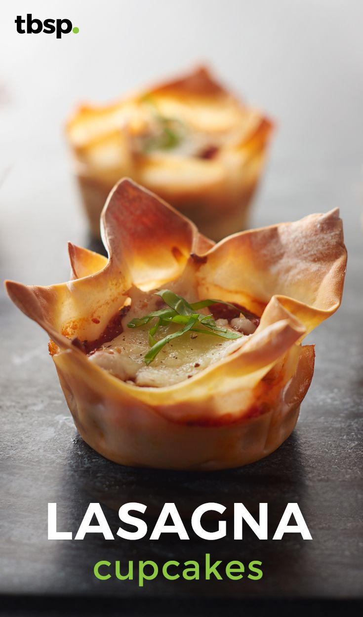 Layers of meat, cheese and pasta baked in little lasagna cupcakes. Wonton wrappers are fresh little sheets of pasta that are perfectly sized for these lasagna cupcakes and because of their thinness, they cook up super fast.