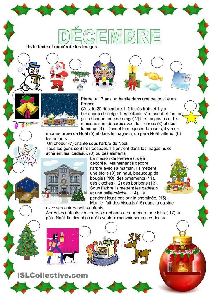 Décembre | GRATUIT FLE fiches pédagogiques: