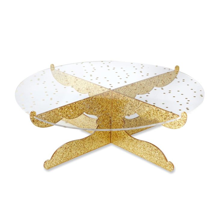 Add the perfect cake accessory to your gold party décor, with Kate Aspen's Time Gold Glitter Acrylic Cake Stand, cakes of all kinds are given a glamorous presentation!