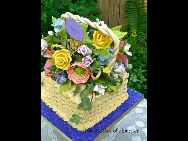 60th birthday basket with sugar flowers