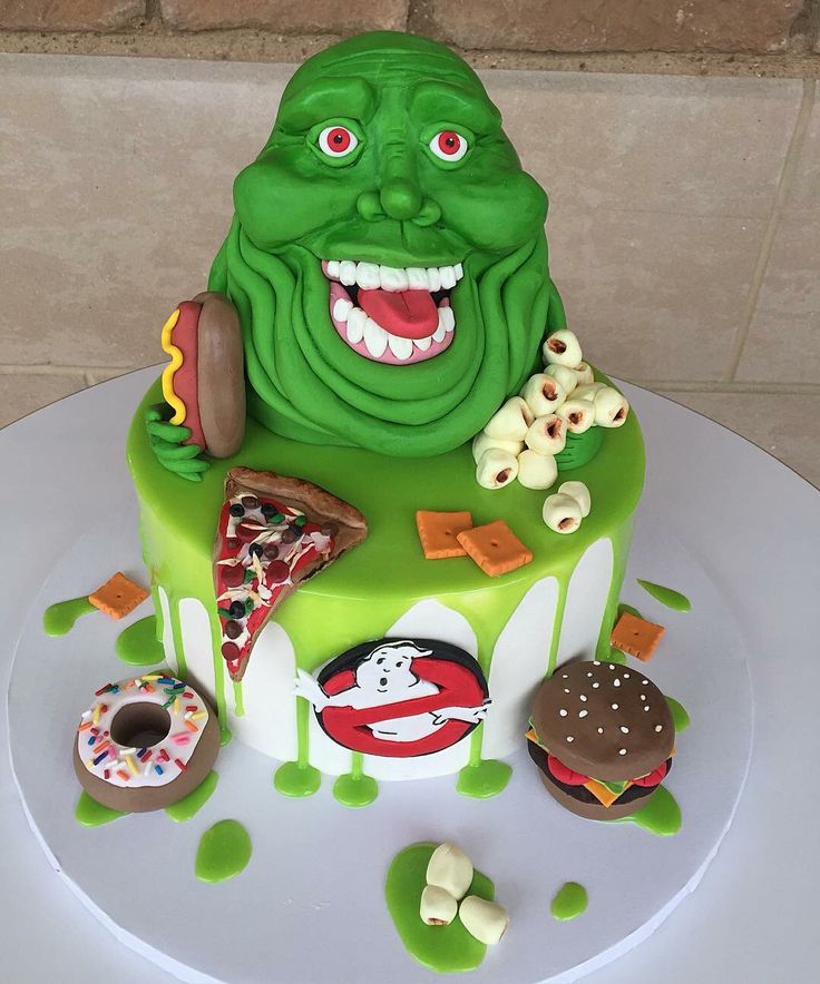 Ghostbusters Cake! Perfect for your ghostbusters themed party!                                                                                                                                                                                 More