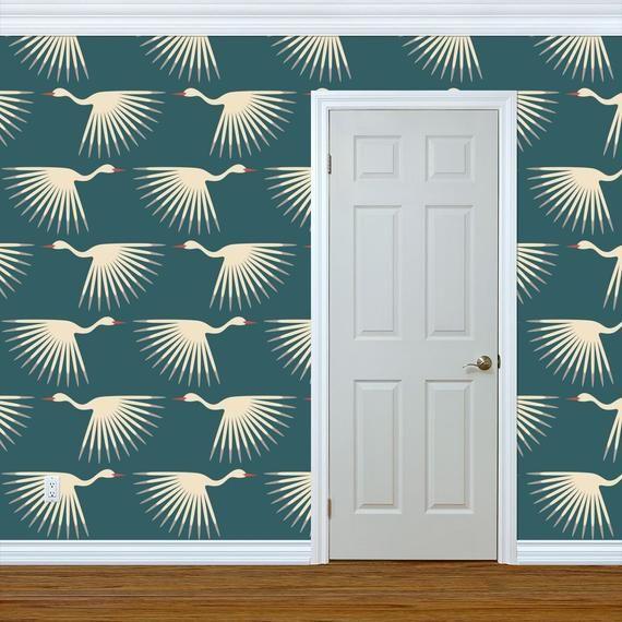 Art Deco Wallpaper Art Deco Cranes By Katerhees 1920s Teal Etsy Art Deco Wallpaper Wallpaper Panels Wallpaper