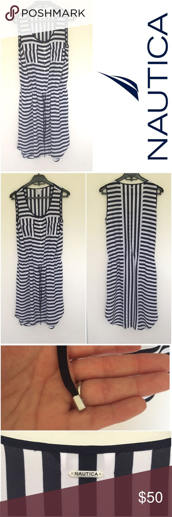 Nautica Stripe Dress ⛵️ NWT Nice summer dress with nautical stripes ⚓️. 100% polyester. ⛵️ Elastic at the waist and draw string to adjust it. A little longer at the back. Wear it with sandals or high heels. Make me an offer. No trades. Nautica Dresses