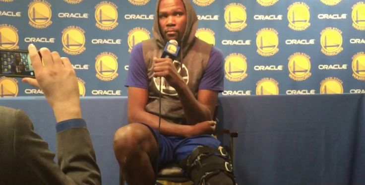 WATCH: Warriors' Kevin Durant addresses media about knee injury = [video] Golden State Warriors forward Kevin Durant appeared on Wednesday to let everyone know that he's feeling 100 percent mentally following the knee injury that may wind up costing him the remainder of his regular season…..