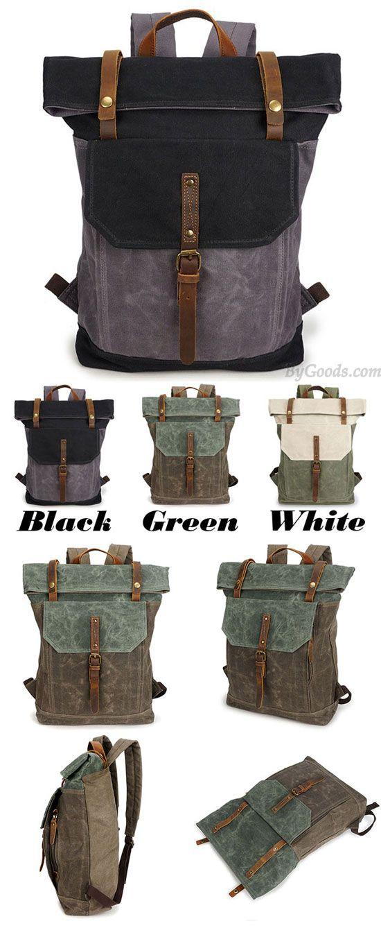 82cf452fc551 Unique Man Retro Canvas Buckle Leather Waterproof Square Flap School  Backpack Large Travel Backpack for big sale!  school  backpack  travel   canvas  retro ...