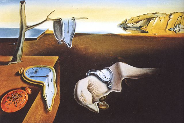 Salvadore Dali- The persistence of memory (1931)   painting depicts time as a series of melting watches surrounded by swarming ants that hint at decay, an organic process in which Dali held an unshakeable fascination. The important distinction between hard and soft objects, associated by Dali with order and putrefaction respectively, informs his work method in subverting inherent textual properties  found : http://www.theartstory.org/artist-dali-salvador.htm