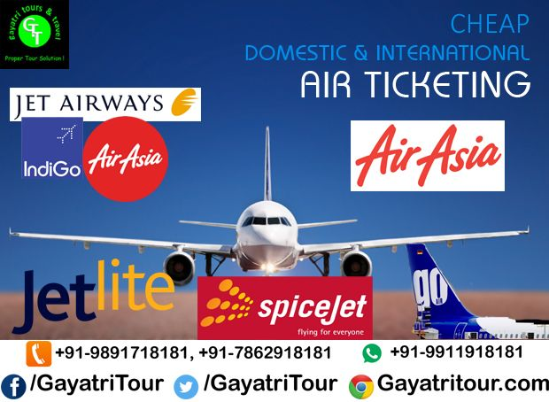 #Book your #AirTickets with Gayatri Tours & Travel (www.GayatriTour.com) at the best deal. #Cheap air tickets is our guaranteed.  You have to only #Call@ 011-2731 7181, +91-98917 18181, +91-78629 18181 and #whatsapp number +91-99119 18181, +91-78489 18181.  #GayatriTours& #Travel #Service for #TournTravel #Cheap & #Best #Deals on #AirFare #InternationalFlights #DomesticFlights #Available #CallAnyTime
